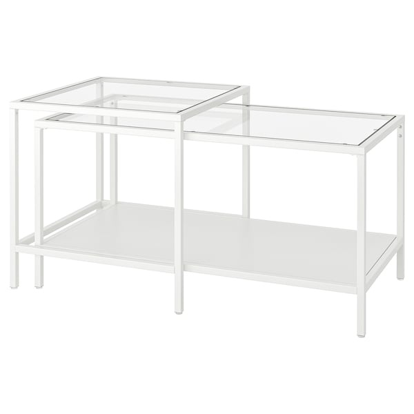 VITTSJÖ Bijzettafel, set van 2, wit/glas, 90x50 cm