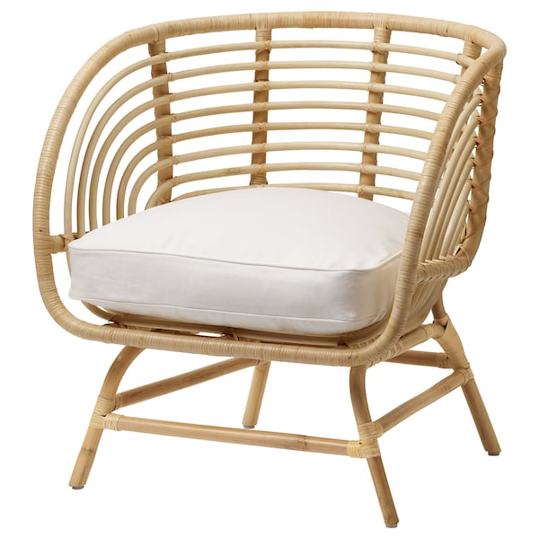 BUSKBO كرسي بذراعين خيزران/Djupvik أبيض 42 سم 72 سم 63 سم 75 سم 12 سم 43 سم 52 سم 32 سم
