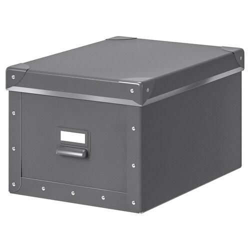 FJÄLLA صندوق تخزين مع غطاء رمادي غامق 35 سم 26 سم 36 سم 25 سم 20 سم