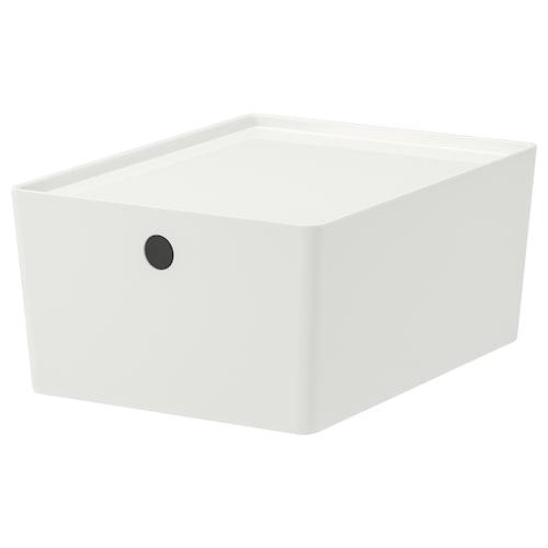 KUGGIS صندوق بغطاء أبيض 26 سم 35 سم 15 سم