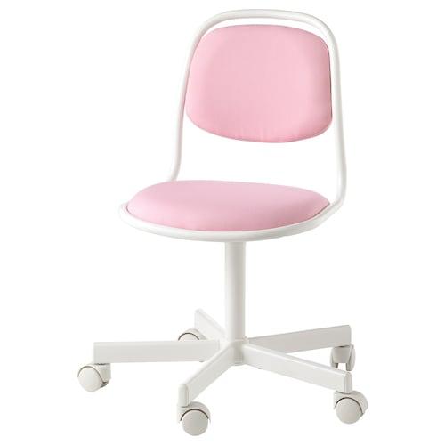 ÖRFJÄLL كرسي مكتب أطفال أبيض/Vissle زهري 110 كلغ 53 سم 53 سم 83 سم 39 سم 34 سم 38 سم 49 سم
