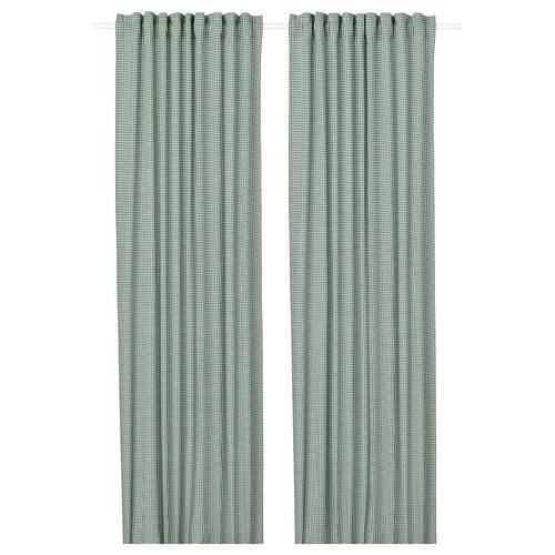 ORDENSFLY ستائر، 1 زوج أبيض/أخضر 300 سم 145 سم 1.85 كلغ 4.35 م² 2 قطعة
