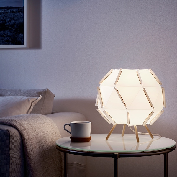 SJÖPENNA مصباح طاولة أبيض 8.6 واط 30 سم 28 سم 2 م