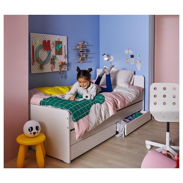 SLÄKT هيكل سرير بسرير سفلي وتخزين أبيض 100 كلغ 206 سم 96 سم 90 سم 57 سم 56 سم 78 سم 193 سم 200 سم 90 سم