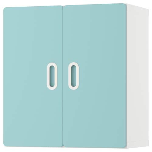 STUVA / FRITIDS خزانة حائطية أبيض/أزرق فاتح 60 سم 30 سم 64 سم