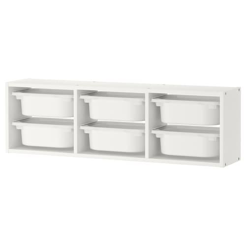 TROFAST تخزين حائطي أبيض/أبيض 99 سم 99 سم 21 سم 30 سم