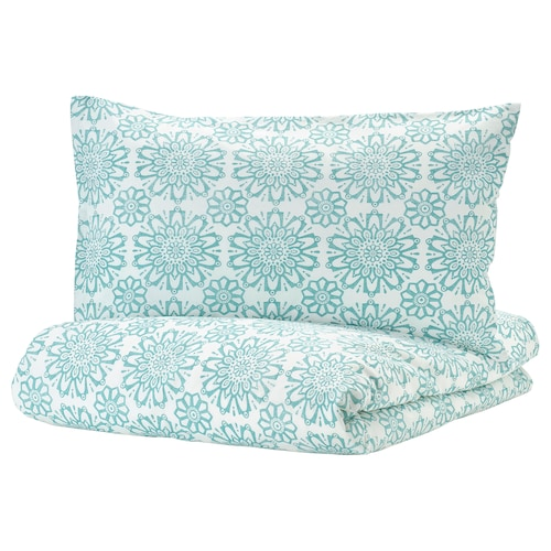 ÄNGSSALVIA quilt cover and 2 pillowcases white/turquoise 104 /inch² 2 pack 220 cm 240 cm 50 cm 80 cm