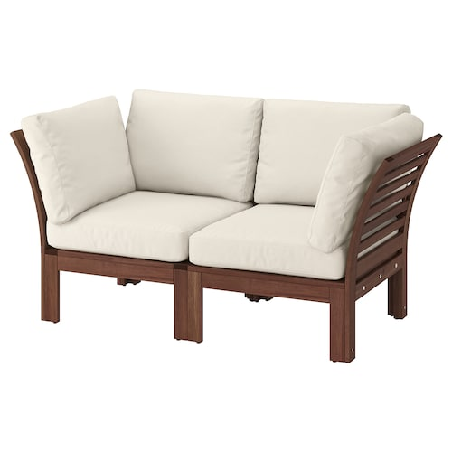 ÄPPLARÖ 2-seat modular sofa, outdoor brown stained/Frösön/Duvholmen beige 160 cm 80 cm 84 cm 49 cm 40 cm