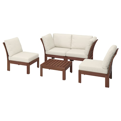 ÄPPLARÖ 4-seat conversation set, outdoor brown stained/Frösön/Duvholmen beige