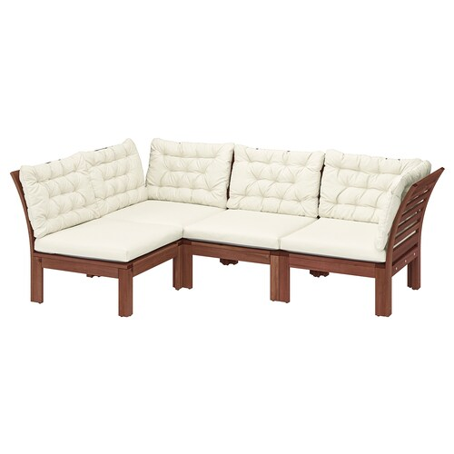 ÄPPLARÖ modular corner sofa 3-seat, outdoor brown stained/Kuddarna beige 80 cm 80 cm 223 cm 143 cm 57 cm 36 cm