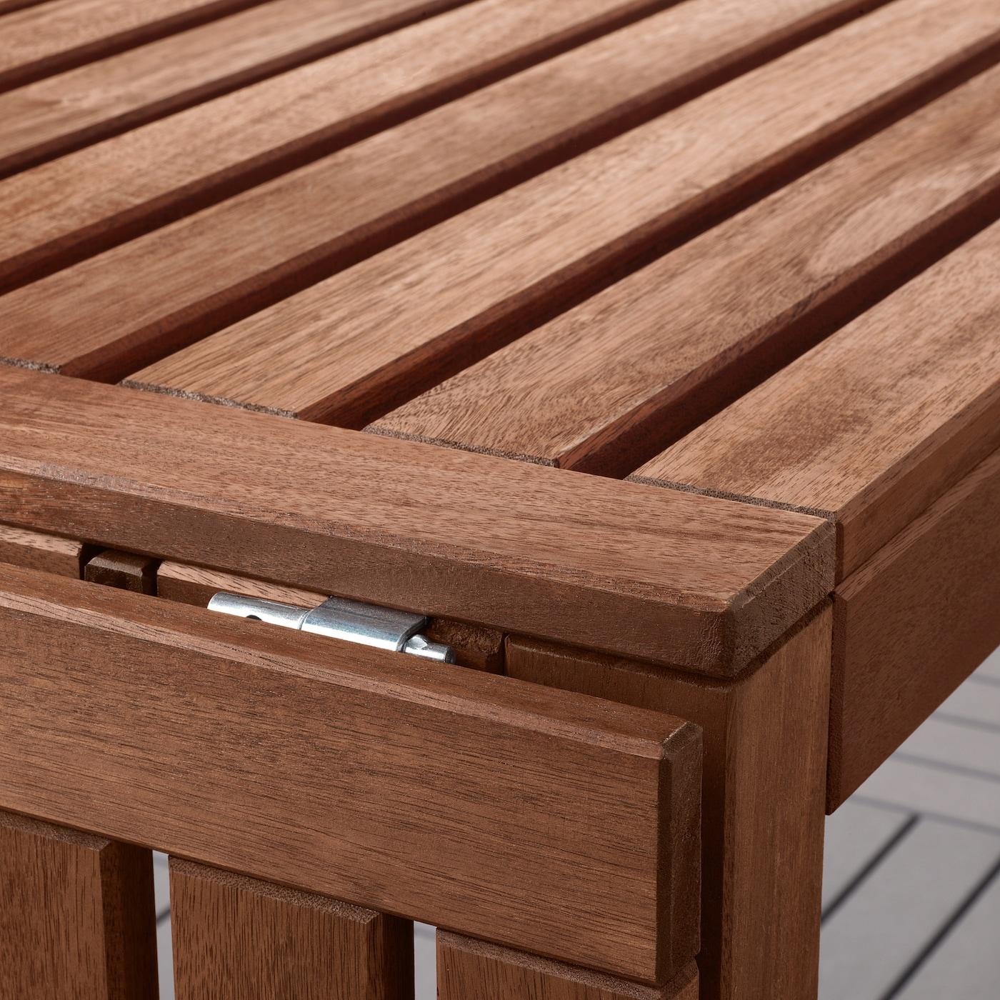 ÄPPLARÖ Table+2 chrsw armr+ bench, outdoor, brown stained/Frösön/Duvholmen blue