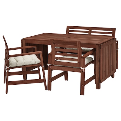 ÄPPLARÖ Table+2 chrsw armr+ bench, outdoor, brown stained/Kuddarna beige