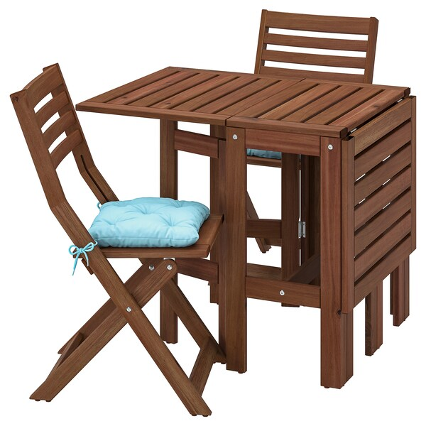ÄPPLARÖ Table+2 folding chairs, outdoor, brown stained/Kuddarna light blue