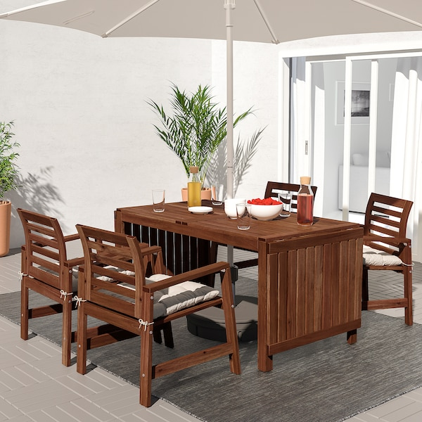 ÄPPLARÖ Table+4 chairs w armrests, outdoor, brown stained/Kuddarna grey