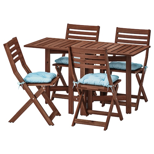 ÄPPLARÖ table+4 folding chairs, outdoor brown stained/Kuddarna light blue