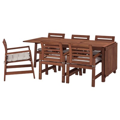 ÄPPLARÖ Table+6 chairs w armrests, outdoor, brown stained/Kuddarna grey