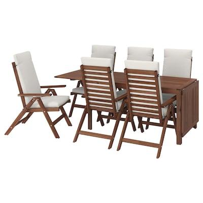 ÄPPLARÖ Table+6 reclining chairs, outdoor, brown stained/Frösön/Duvholmen beige