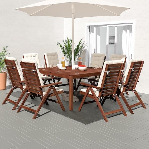 ÄPPLARÖ طاولة+8 كراسي استلقاء، خارجية, صباغ بني/Kuddarna بيج