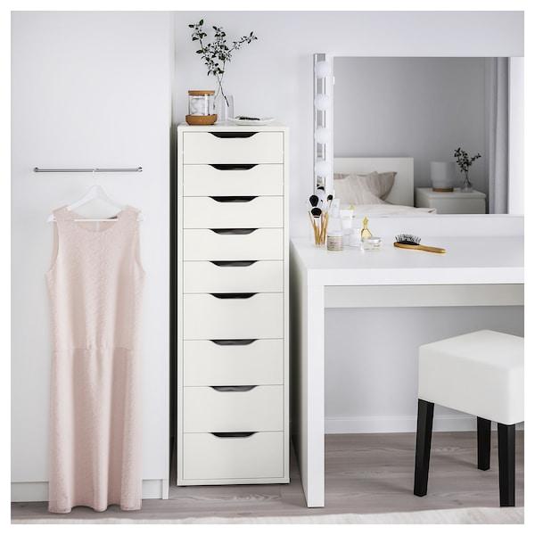 ALEX Drawer unit with 9 drawers, white, 36x116 cm