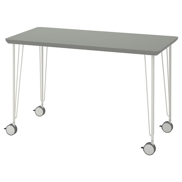 ÅMLIDEN / KRILLE Table, grey-green/white, 120x60 cm