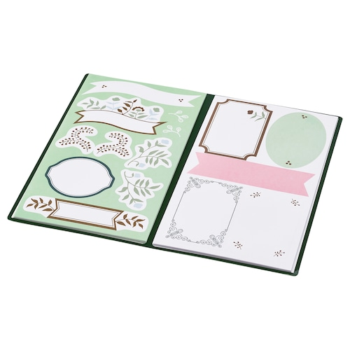 ANILINARE folder with stickers green beige/floral patterned 10.5 cm 18.0 cm