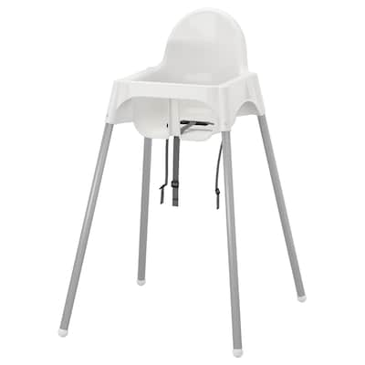 ANTILOP Highchair with safety belt, white/silver-colour