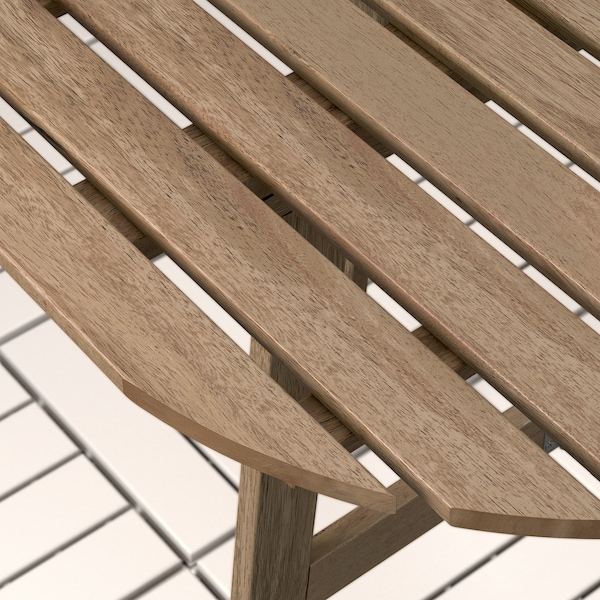 ASKHOLMEN table f wall+2 fold chairs, outdoor grey-brown stained/Frösön/Duvholmen dark grey