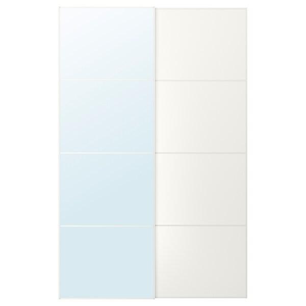 AULI / MEHAMN زوج من أبواب منزلقة, زجاج مرايا/أبيض, 150x236 سم