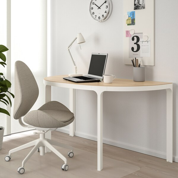 BEKANT Conference table, white stained oak veneer/white, 140x70 cm