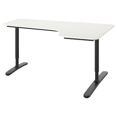 BEKANT Corner desk right, white/black, 160x110 cm