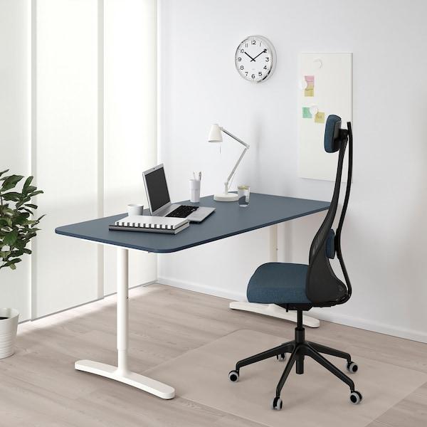 BEKANT desk linoleum blue/white 160 cm 80 cm 65 cm 85 cm 100 kg
