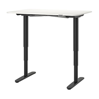 BEKANT Desk sit/stand, white/black, 120x80 cm