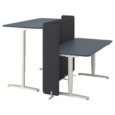 BEKANT Desk sit/stand with screen, linoleum blue/white, 160x160 120 cm