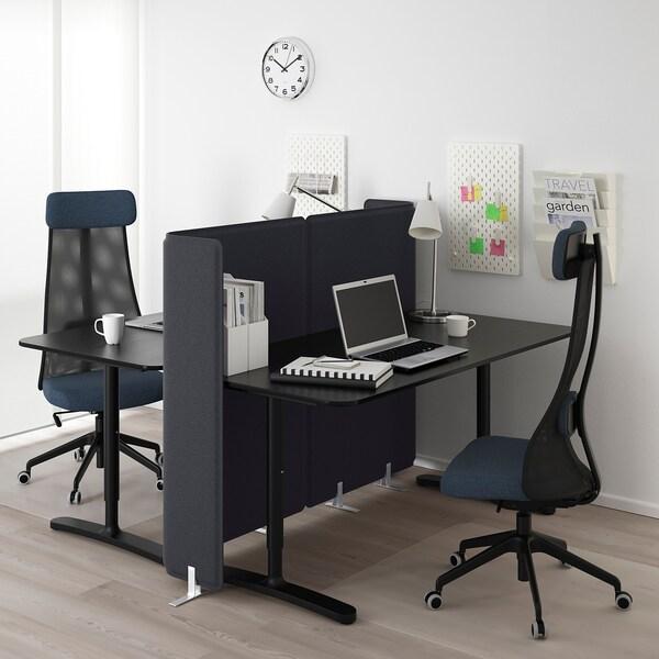 BEKANT desk with screen black stained ash veneer/black 120 cm 160 cm 160 cm 65 cm 85 cm 100 kg