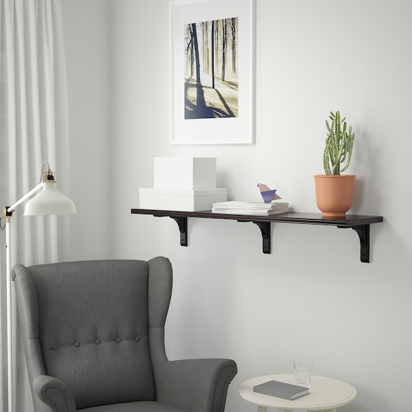 BERGSHULT / RAMSHULT Wall shelf, brown-black, 120x30 cm