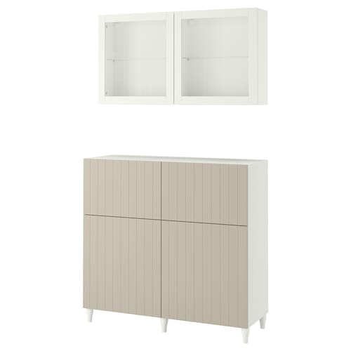 BESTÅ storage combination w doors/drawers white Sutterviken/Kabbarp/grey-beige clear glass 120 cm 42 cm 240 cm
