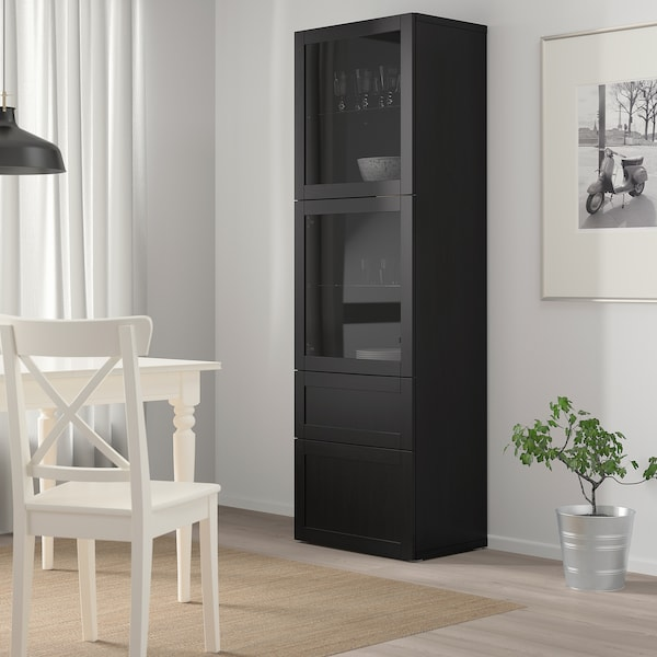 BESTÅ storage combination w glass doors black-brown/Hanviken black-brown clear glass 60 cm 42 cm 193 cm