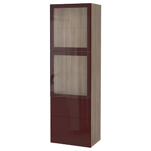 Colour: Grey stained walnut effect selsviken/dark red-brown clear glass.