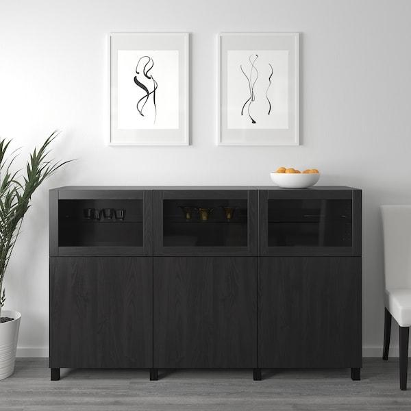 BESTÅ Storage combination with doors, black-brown Lappviken/Sindvik black-brown clear glass, 180x42x112 cm