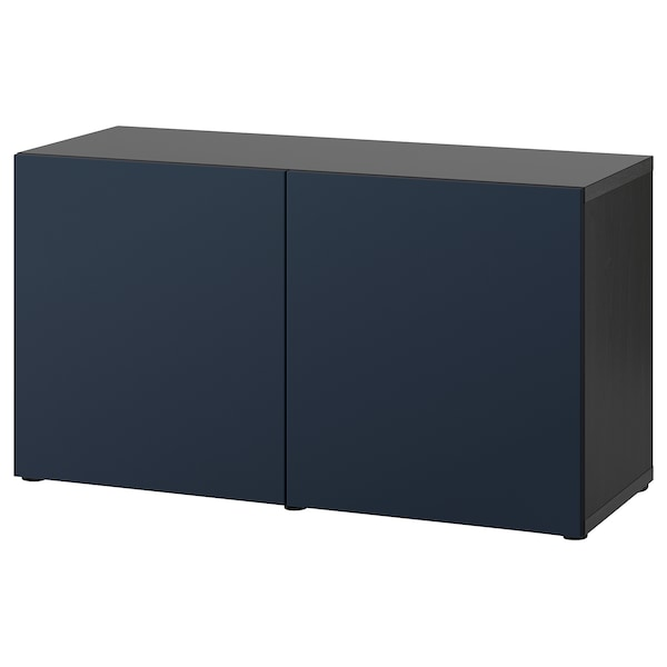 BESTÅ Storage combination with doors, black-brown/Notviken blue, 120x42x65 cm