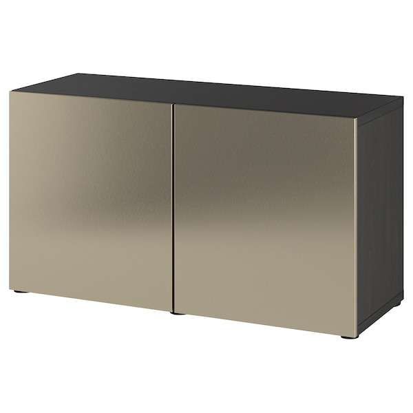 BESTÅ Storage combination with doors, black-brown/Riksviken light bronze effect, 120x42x65 cm