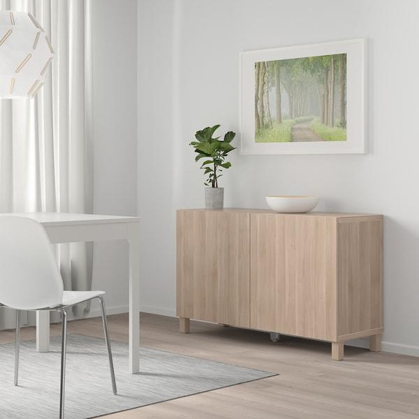 BESTÅ Storage combination with doors, grey stained walnut effect/Lappviken grey stained walnut effect, 120x42x65 cm