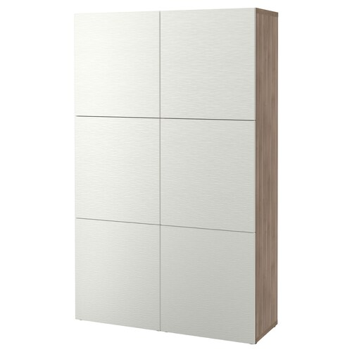 BESTÅ storage combination with doors grey stained walnut effect/Laxviken white 120 cm 40 cm 192 cm