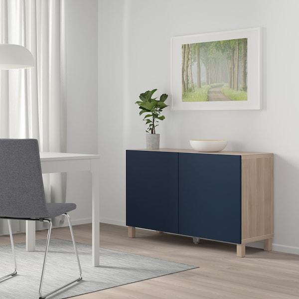 BESTÅ Storage combination with doors, grey stained walnut effect/Notviken blue, 120x42x65 cm