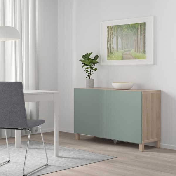 BESTÅ Storage combination with doors, grey stained walnut effect/Notviken grey-green, 120x42x65 cm