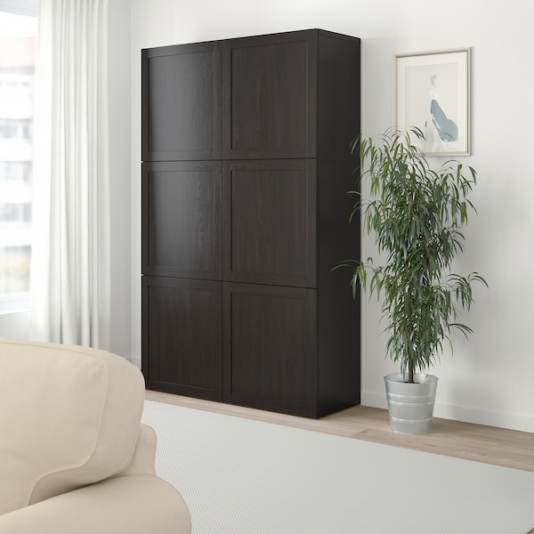 BESTÅ Storage combination with doors, Hanviken black-brown, 120x40x192 cm