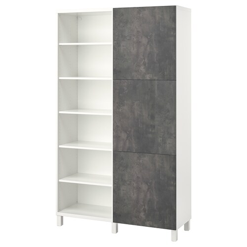 BESTÅ storage combination with doors white/Kallviken/Stubbarp concrete effect 120 cm 42 cm 202 cm