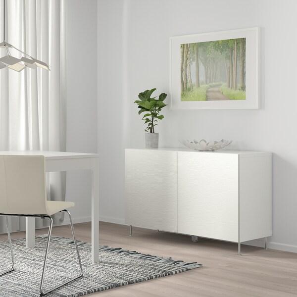 BESTÅ Storage combination with doors, white/Laxviken white, 120x42x65 cm