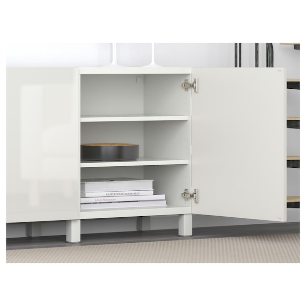 BESTÅ Storage combination with doors, white/Selsviken high-gloss/white, 180x40x74 cm