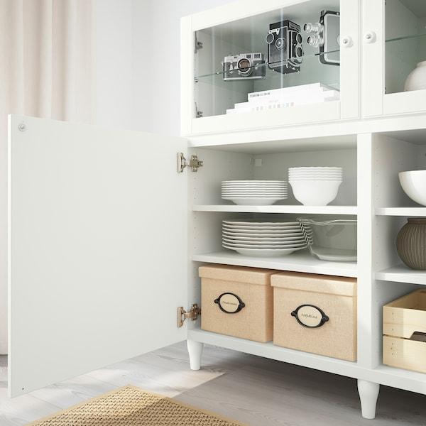 BESTÅ تشكيلة تخزين مع أبواب, أبيض/Smeviken/Kabbarp أبيض زجاج شفاف, 180x42x112 سم